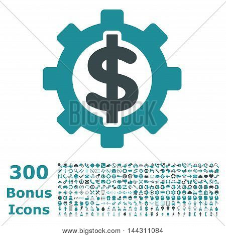 Financial Options icon with 300 bonus icons. Vector illustration style is flat iconic bicolor symbols, soft blue colors, white background.