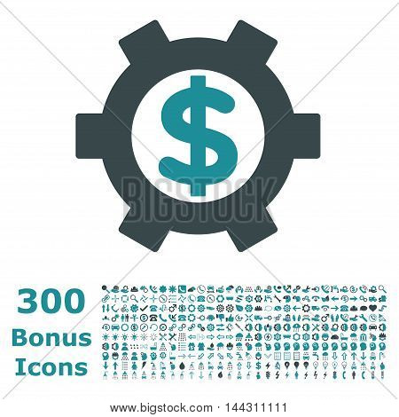 Financial Settings icon with 300 bonus icons. Vector illustration style is flat iconic bicolor symbols, soft blue colors, white background.