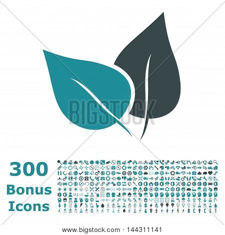 Flora Plant icon with 300 bonus icons. Vector illustration style is flat iconic bicolor symbols, soft blue colors, white background.