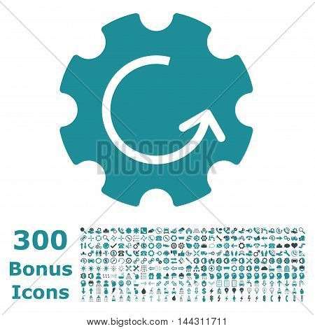 Gear Rotation icon with 300 bonus icons. Vector illustration style is flat iconic bicolor symbols, soft blue colors, white background.
