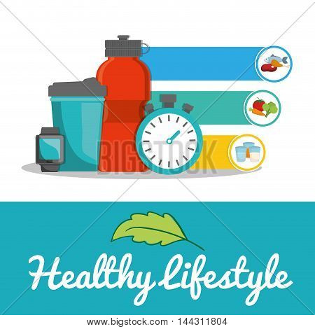 bottle watch chronometer food healthy lifestyle fitness gym bodybuilding icon set. Colorful and flat design. Vector illustration