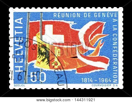 SWITZERLAND - CIRCA 1964 : Cancelled postage stamp printed by Switzerland, that shows Flags of Geneva and Swiss Confederation.