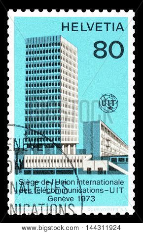 SWITZERLAND - CIRCA 1973 : Cancelled postage stamp printed by Switzerland, that shows ITU building.