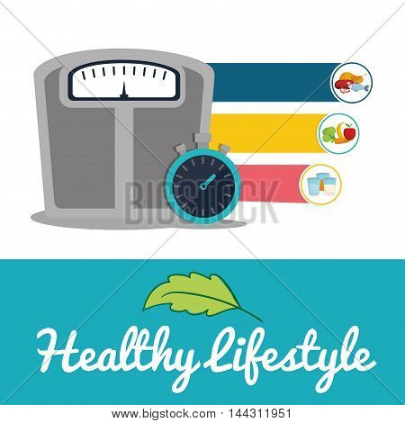 scale chronometer food healthy lifestyle fitness gym bodybuilding icon set. Colorful and flat design. Vector illustration