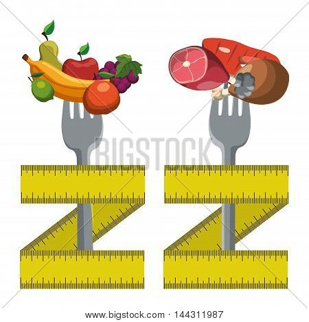 meat protein fruits fork meter healthy and organic food nutrition lifestyle icon set. Colorful and flat design. Vector illustration