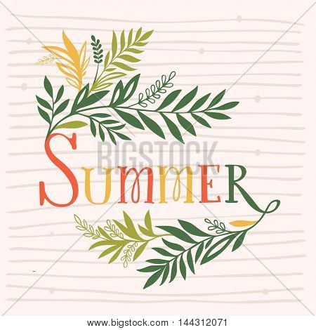 Summer colorful banner with leaves growing from the letters