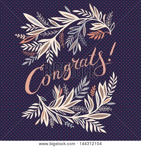 Congrats - greeting card design with floral decoration
