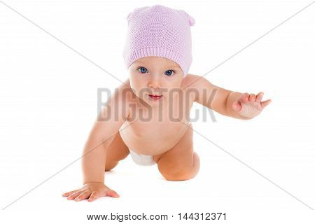 Child. Portrait of beautiful happy baby on a white background