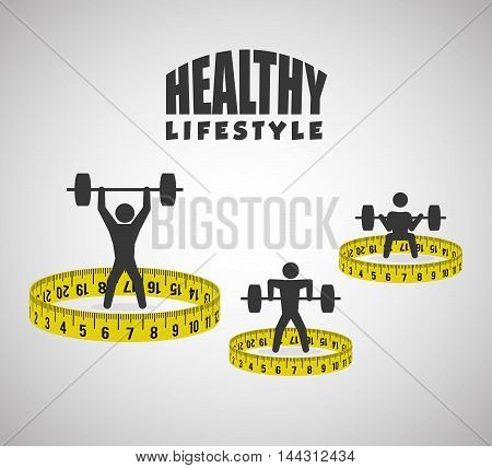 pictogram meter weight lifting healthy lifestyle fitness gym bodybuilding icon set. Colorful and flat design. Vector illustration