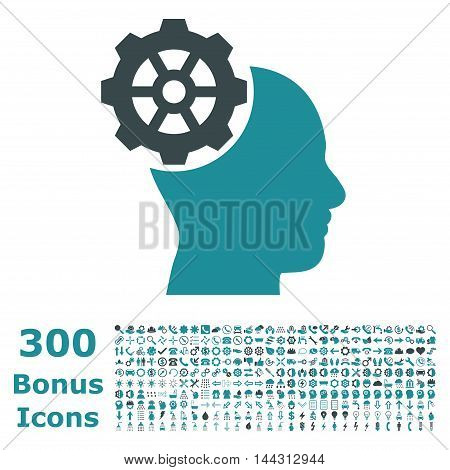 Head Gear icon with 300 bonus icons. Vector illustration style is flat iconic bicolor symbols, soft blue colors, white background.