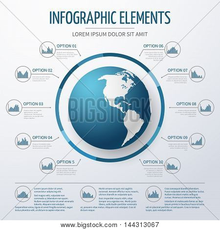 Earth globe  infographic template. World map with option numbers and charts for business