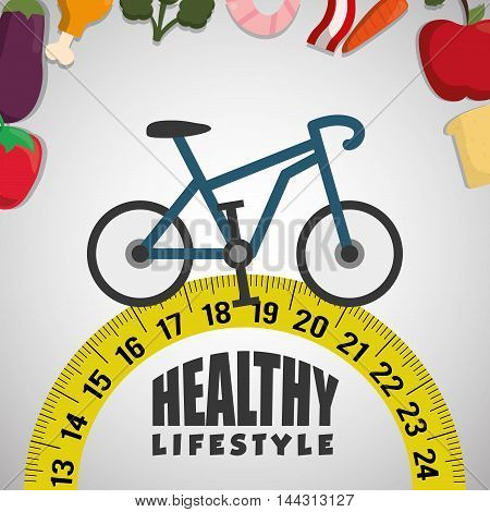 bike food meter healthy lifestyle fitness gym bodybuilding icon set. Colorful and flat design. Vector illustration