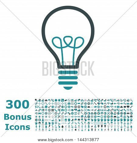 Lamp Bulb icon with 300 bonus icons. Vector illustration style is flat iconic bicolor symbols, soft blue colors, white background.