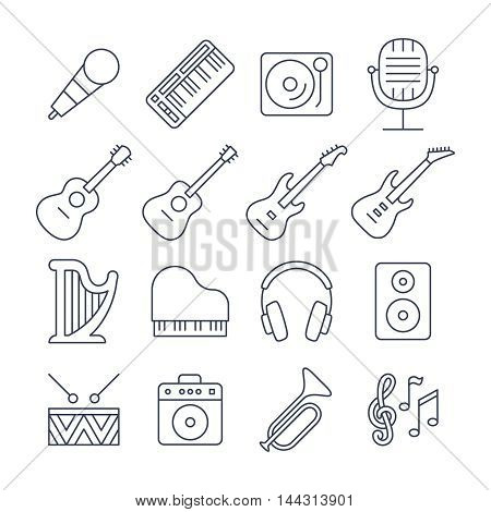 Music line vector icons set. Musical instrument, guitar, drum and piano linear signs illustration