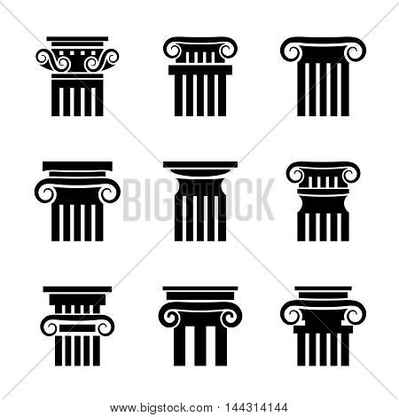 Column icons. Ancient architecture antique column vector set on white