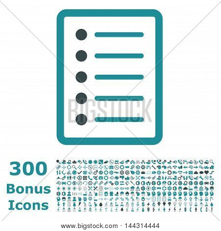 List Page icon with 300 bonus icons. Vector illustration style is flat iconic bicolor symbols, soft blue colors, white background.
