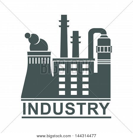 Vector black industry factory logo. Elements for sites, advertising brochures, flayers, posters and info graphics. Flat cartoon vector illustration. Objects isolated on a white background.