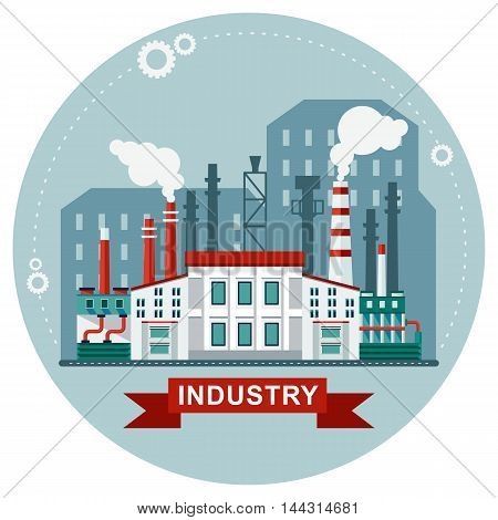 Vector ecology concept industry factory building. Elements for sites, advertising flayers, posters and info graphics. Flat cartoon vector illustration. Objects isolated on a white background.