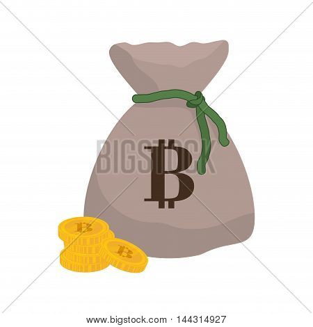 money bag coins financial item commerce market icon. Flat and Isolated design. Vector illustration