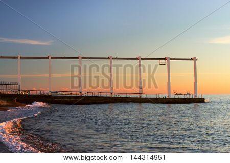 Concrete Pier With A Transport Rail
