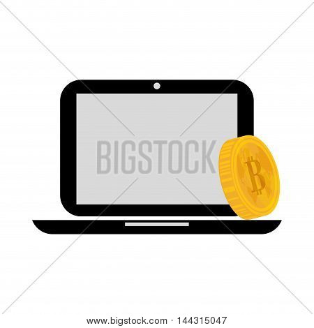 laptop coin money financial item commerce market icon. Flat and Isolated design. Vector illustration