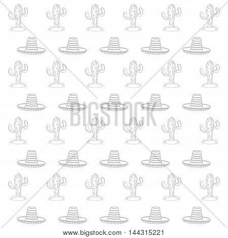 flat design cactus and sombrero pattern vector illustration