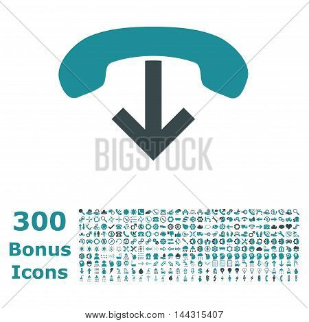 Phone Hang Up icon with 300 bonus icons. Vector illustration style is flat iconic bicolor symbols, soft blue colors, white background.