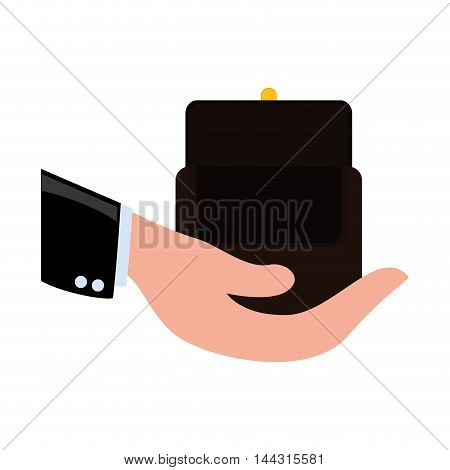 purse hand money financial item commerce market icon. Flat and Isolated design. Vector illustration