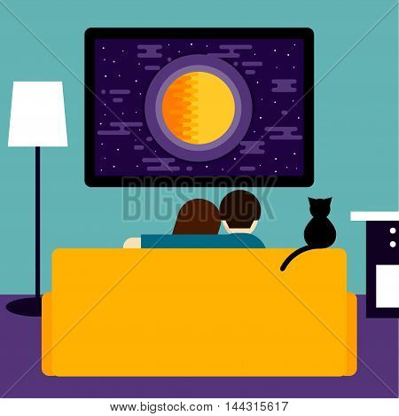 Couple and cat watching the sci-fi movie on television. Trendy flat style room interior. Couple and cat sitting on couch in room with tv. Rest hobby and laisure theme. Family and television.