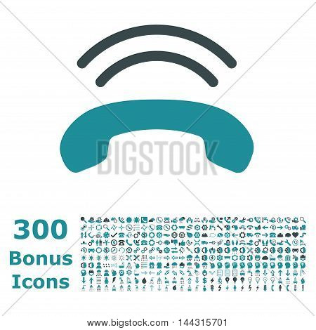 Phone Ring icon with 300 bonus icons. Vector illustration style is flat iconic bicolor symbols, soft blue colors, white background.