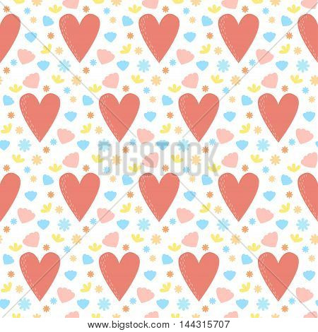 Doodle cartoon hearts seamless pattern background. Valentine's day, love, relationship, wedding, romantic theme.