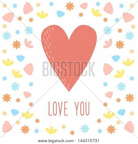 Doodle vector cartoon heart card. Valentine's day, love, relationship, wedding, romantic theme.