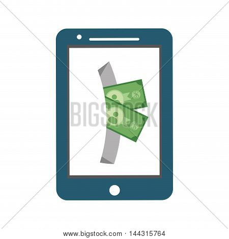 smartphone bill money financial item commerce market icon. Flat and Isolated design. Vector illustration