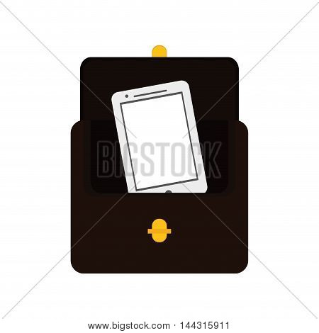 wallet smartphone money financial item commerce market icon. Flat and Isolated design. Vector illustration