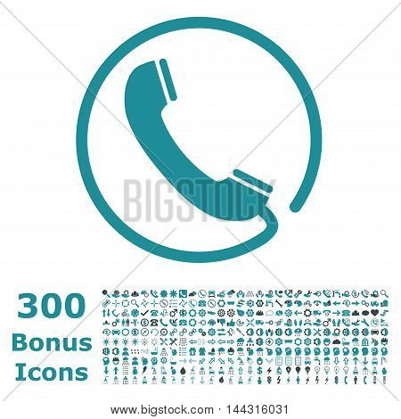 Phone icon with 300 bonus icons. Vector illustration style is flat iconic bicolor symbols, soft blue colors, white background.