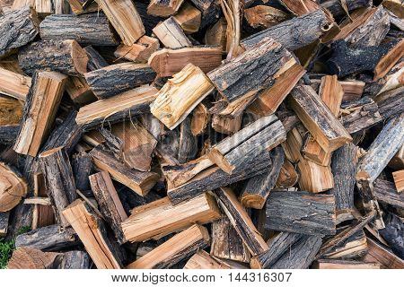 harvesting of wood for the heating season in winter, solid fuel