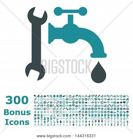 Plumbing icon with 300 bonus icons. Vector illustration style is flat iconic bicolor symbols, soft blue colors, white background.