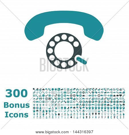 Pulse Dialing icon with 300 bonus icons. Vector illustration style is flat iconic bicolor symbols, soft blue colors, white background.