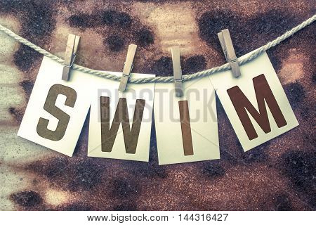Swim Concept Pinned Stamped Cards On Twine Theme