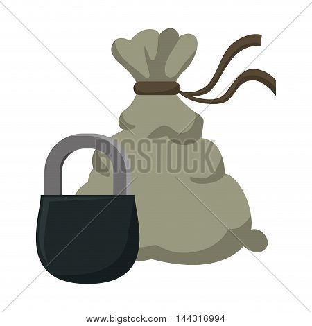 money bag padlock financial item commerce market icon. Flat and Isolated design. Vector illustration