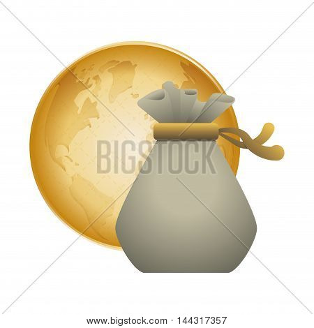 money bag planet world financial item commerce market icon. Flat and Isolated design. Vector illustration