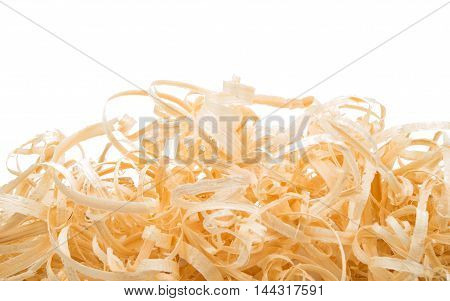 wood shavings element, spirals on a white background