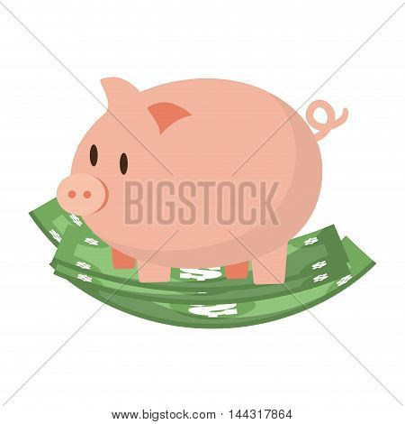 piggy bills money financial item commerce market icon. Flat and Isolated design. Vector illustration