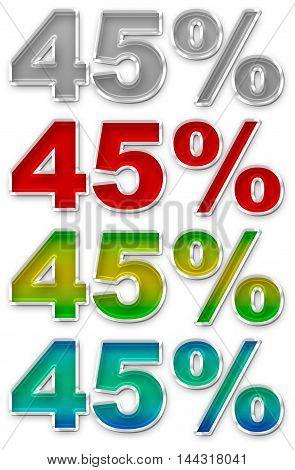 A illustration of Percent 45 colorful icons symbols set JPEG