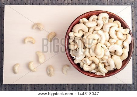 Top View Of A Delicious And Healthy Raw Cashew Nuts