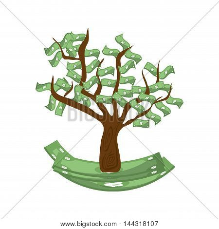 bill green tree money financial item commerce market icon. Flat and Isolated design. Vector illustration