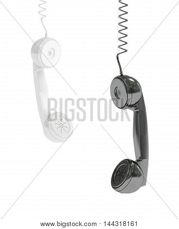 hanging phone handsets 3D rendering isolated on white background