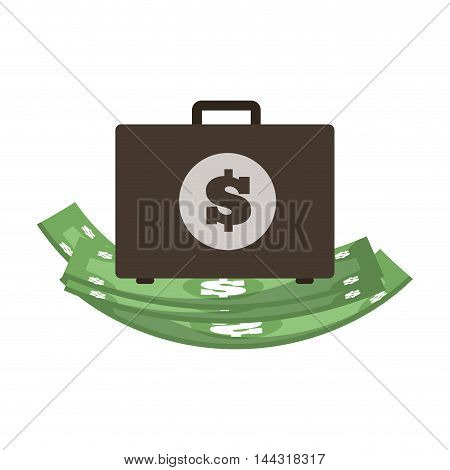 bill green suitcase money financial item commerce market icon. Flat and Isolated design. Vector illustration
