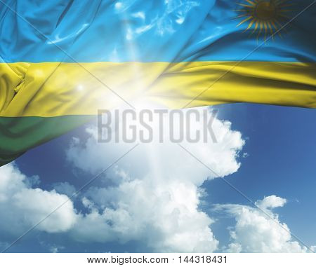 Rwanda flag on a beautiful day