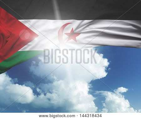 Sahrawi Arab Democratic Republic flag on a beautiful day
